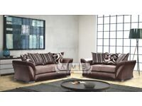 BRAND NEW DUAL SIDED CORNER SOFA SUITE IN BLACK AND GREY CHENILLE FABRIC, 3 AND 2 SEATER LEATHERETTE