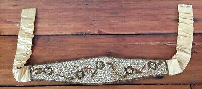 Vintage Gold Toned Rayon Satin Floral Sequined Elastic Formal Cummerbund M/L 33