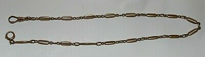 """Vintage Deco Pocket Watch Chain 14K solid Yellow Gold 15"""" Long 12.8g"""