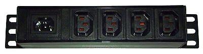 "4 way IEC C13 Distribution Box / 19"" Rackmount Mini PDU cw IEC C14 Power Inlet"