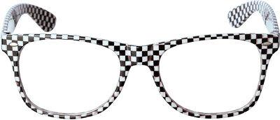 Brille mit Schachbrettmuster - Schwarz Weiß - Clown Pierrot Harlekin Nerd (Nerd Kostüm Mit Brille)