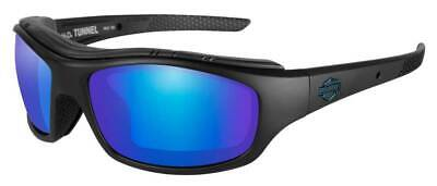 Harley-Davidson Mens Tunnel Sunglasses, PPZ Blue Mirror Lens/Black Frame HDTNL12