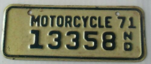 1971 NORTH DAKOTA MOTORCYCLE ~13358~LICENSE PLATE ~TAG