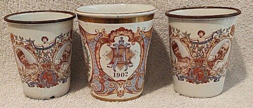 1902 King Edward VII Coronation 3 Highball/enamel beakers