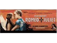 2x Romeo & Juliet Secret Cinema Tickets Sold Out 18 Aug 18 5:30pm selling at DISCOUNT