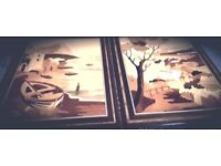 Two Handmade Marquetry Pictures