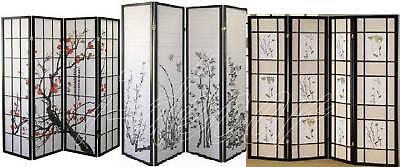 Design Screen Divider (4 & 3 Panel Wood Shoji Screen Room Divider Flowered)