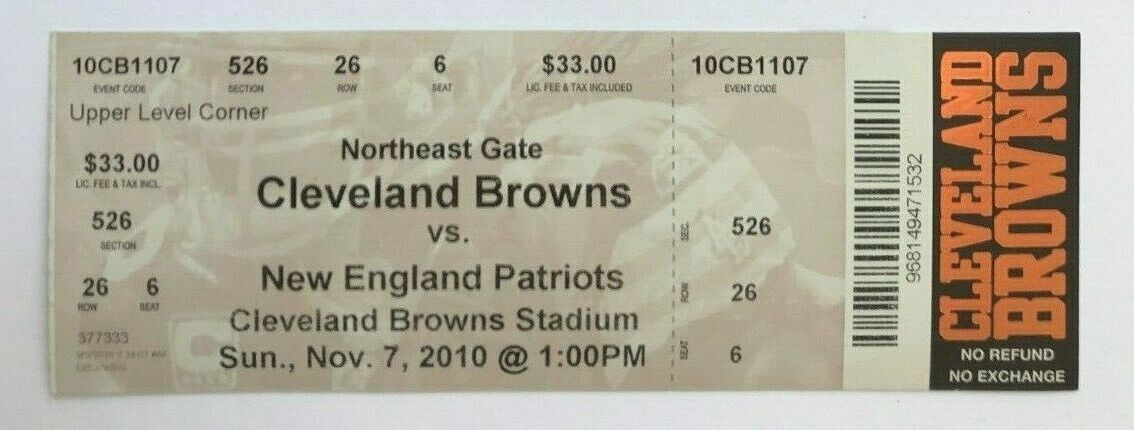 2010 New England Patriots at Cleveland Browns Ticket 11/7/10 Tom Brady 2 TDs