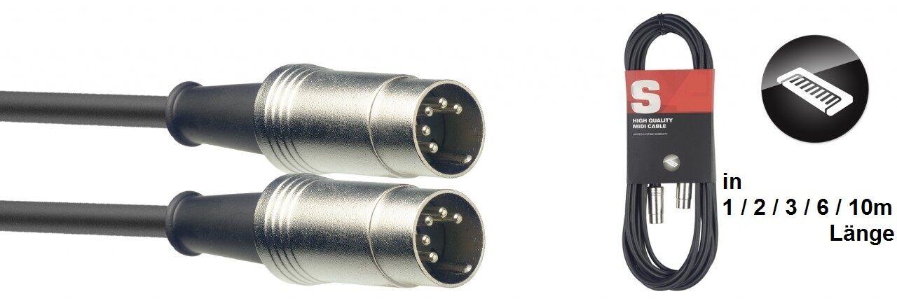MIDIkabel - DIN M/DIN M - Metall, in verschiedenen Längen, 1m,2m,3m,6m,10m, H6