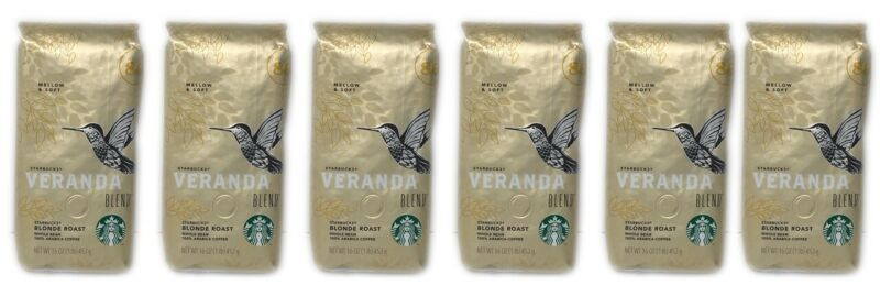 Starbucks Veranda Blend Whole Bean Blonde Roast Coffee 6-Bags 1 Lb Each BB 5/21