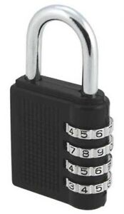 Black Combination Padlock 4cm x 4cm 6mm Shackle Perfect Army Basic Training New