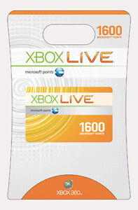 1600 MICROSOFT POINTS CARD for AU USA EU Xbox Live 360 Worldwide