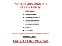 Scrap vehicles wanted!! Same day paid!!