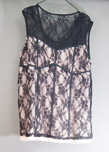 Fancy Lace and Chalk Pink Sleeveless Blouse Plus Size 3x 4x