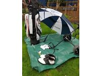 Full Set of Golf Clubs including bag, trolley, brolly, shoes, balls, gloves & tees
