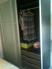IKEA PAX WARDROBE WITH FROSTED GLASS SLIDING DOORS RARE SPACE SAVING GOOD CONDITION 9 MTS OLD