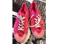 Pink Vans with black cat faces size 3 and half