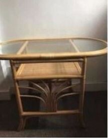 Cane glass-top oval 4-seater dining table, very good condition