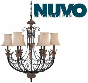 Nuvo Lighting 60/2102 6-Light Chandelier with Maple Wood Shades