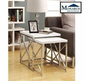 NEW MONARCH NESTING TABLE SET   GLOSSY WHITE / CHROME METAL 2PCS NESTING TABLE SET HOME LIVING ROOM FURNITURE 97039463