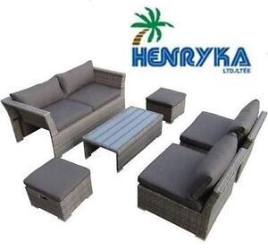 NEW HENRYKA 6-PIECE PATIO SET BEIGE - 119028268