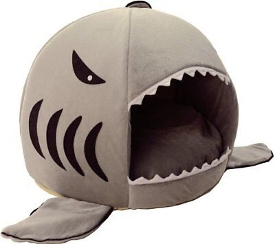 HotelPaw Shark Pet House with Removable Bed Cushion Mat for Dogs and Cats -