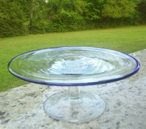 Clear Glass With Royal Blue Footed Cake Plate