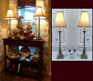 """Beaded Shades, 2 Quality French style Buffet Table Lamps,H 32"""""""