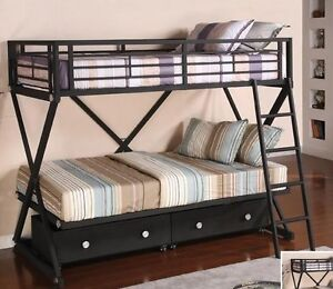 """X"" STYLE single/single METAL Bunk Bed w/2 Storage Drawers"