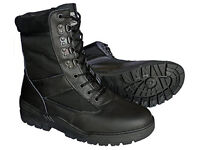 Black Leather Army Combat Patrol Boots - Size 11