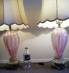 1950's Italian Blown Glass Lamps - Large PAIR