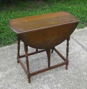 Gibbard Solid Walnut Drop Leaf Lamp Table dating to the 1930's