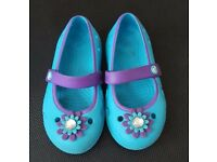 Girls size 9 blue and purple CROCS
