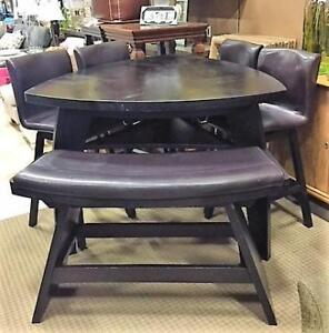Bar height dining table set.  Includes table, 4 swivel stools & double bench