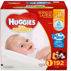 192 size 1 huggies diapers. Trade for box of newborns