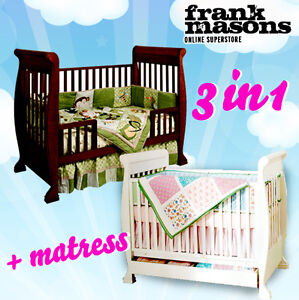 NEW 3 in 1 Wooden Baby SLEIGH Cot Bed Bassinet Toddler + Underneath Drawer