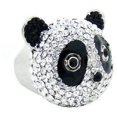Butler And Wilson Crystal Enamel Panda Ring Size Uk R Qvc Xl Us 8.5