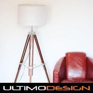 BROWN TIMBER TRIPOD FLOOR LAMP & WHITE 45 CM DRUM SHADE retro vintage light
