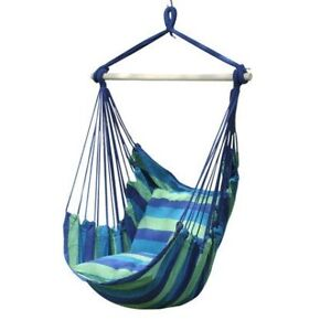 Porch Swings Hanging Rope Chair Blue Portable Indoor/Outdoor