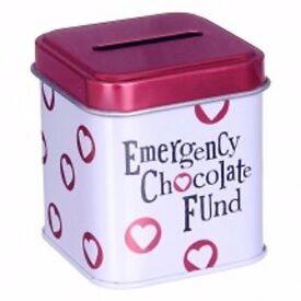"""EMERGENCY CHOCOLATE FUND"" MINI CASH STASH TIN, BRAND NEW"