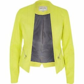 Yellow leather effect jacket size 10 River island
