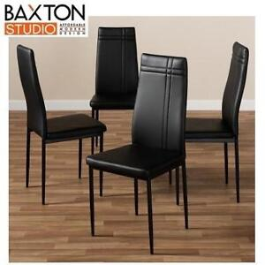 NEW* 4 FAUX LEATHER DINING CHAIRS 112157-6 207308190 BAXTON STUDIO UPHOLSTERED BLACK SET OF 4
