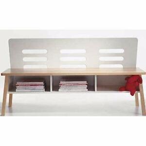 Banc Ikea bois blanc avec dossier et 3 casiers de rangement pour famille nombreuse cuisine recevoir des amis bon état