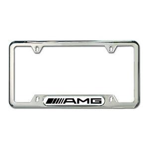 Genuine mercedes benz amg polished stainless steel license for Mercedes benz amg carbon fiber license plate frame