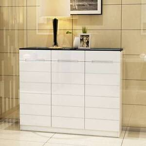 @&@New High Gloss Black White Wooden Shoe Cabinet storage Drawers Kellyville The Hills District Preview