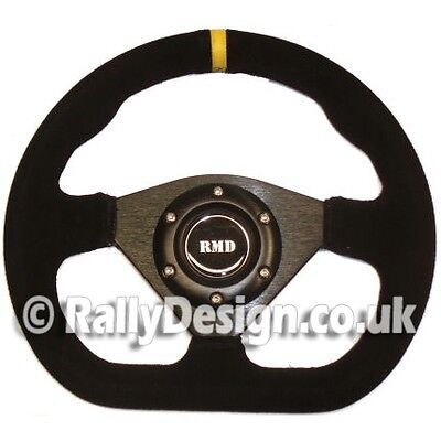 Steering Wheel 285mm D Style Black Suede Race Rally Fast Road SVi-5285BSU