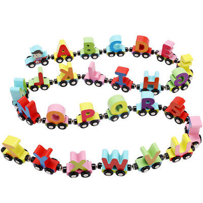 - Magnetic wooden train 26 English alphabet track combination educational toy car