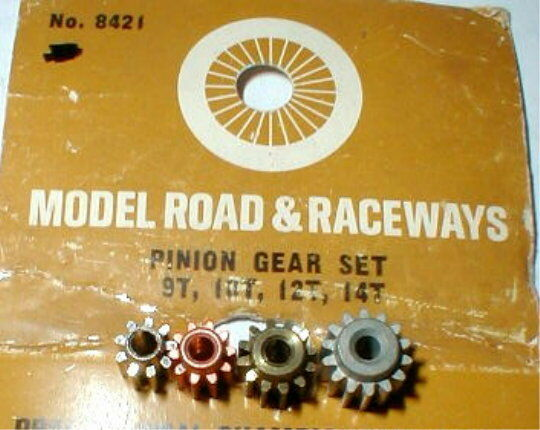 "4 Pinion Gear Tune-Up Kit 9T, 10T, 12T, 14T .093"" Strombecker Slot Car 1960 NOS"
