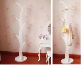 WHITE MDF Coat Stand Rack Tree Shape Clothes Umbrella Hook Hanger Storage 120cm