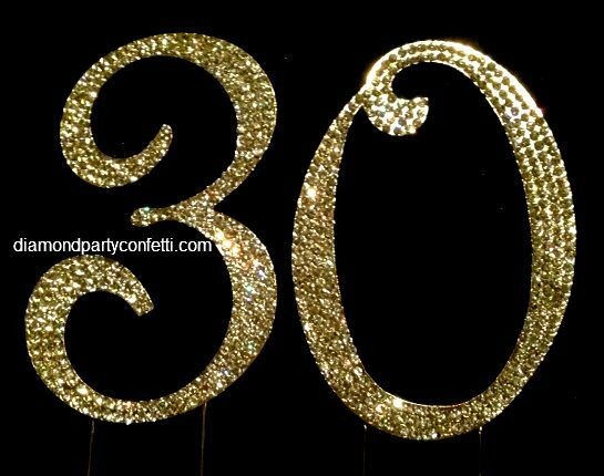 Gold Rhinestone Crystal Covered 30th 30 Anniversary Birth...